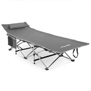 alpcour folding camping cot with comfortable pillow