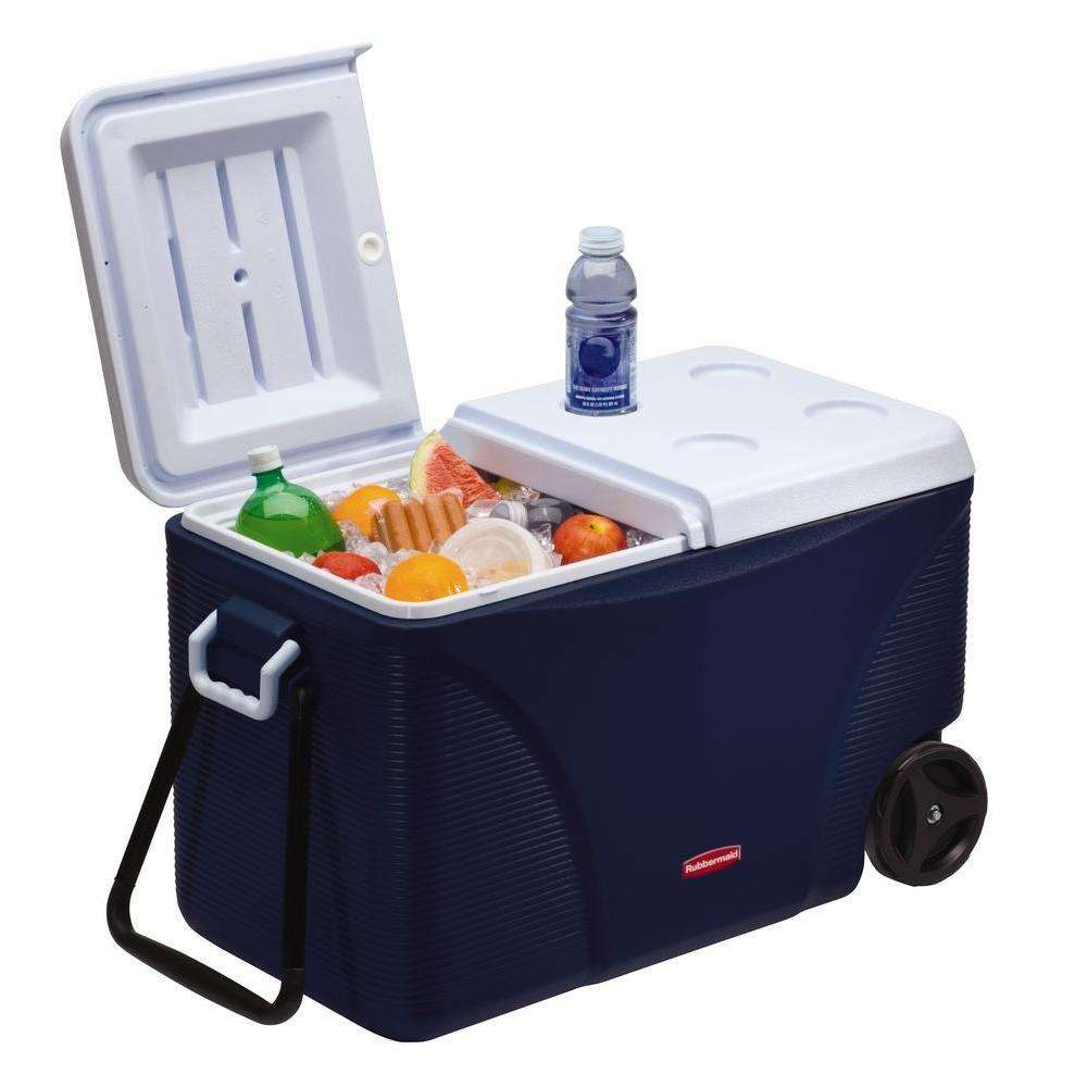 cooler on wheels with food