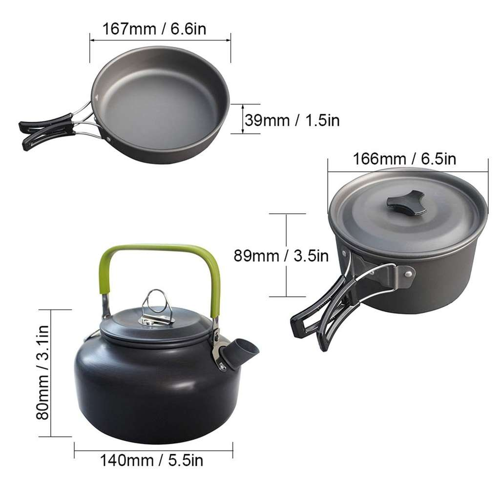 camping cookware capacity