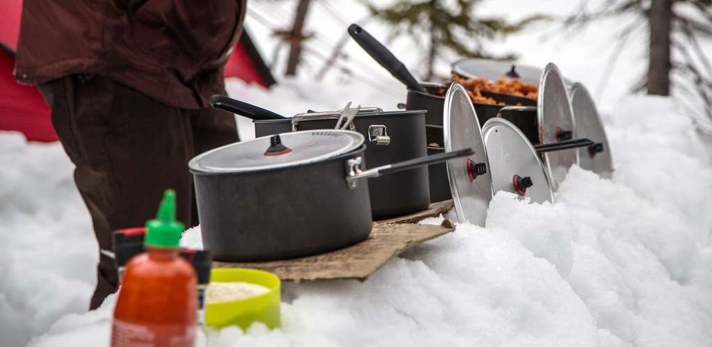 cookware on the snow