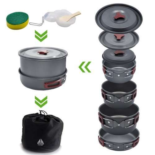 camping cookware folded