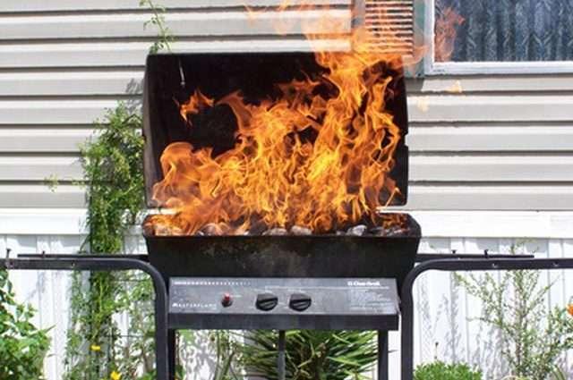 fire in grill