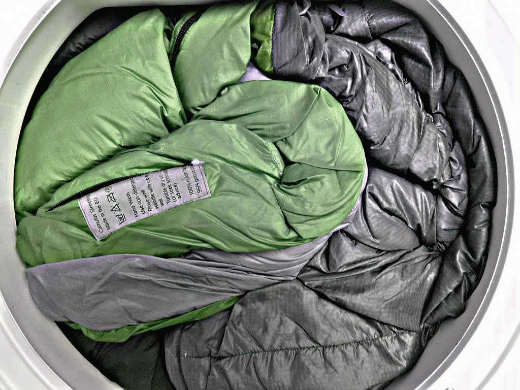 sleeping bag in the washing machine