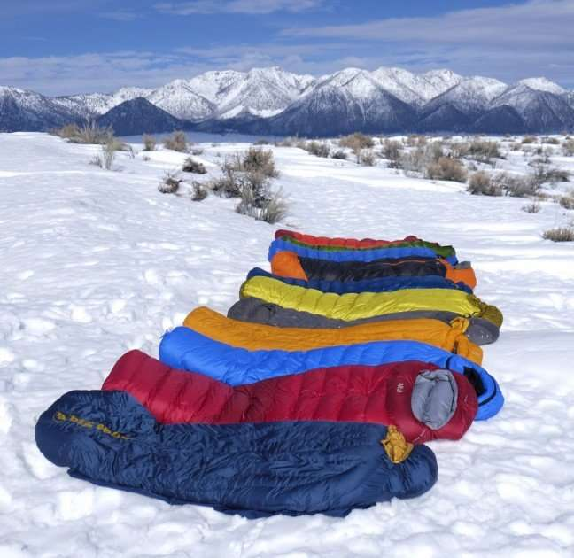 sleeping bags in the snow