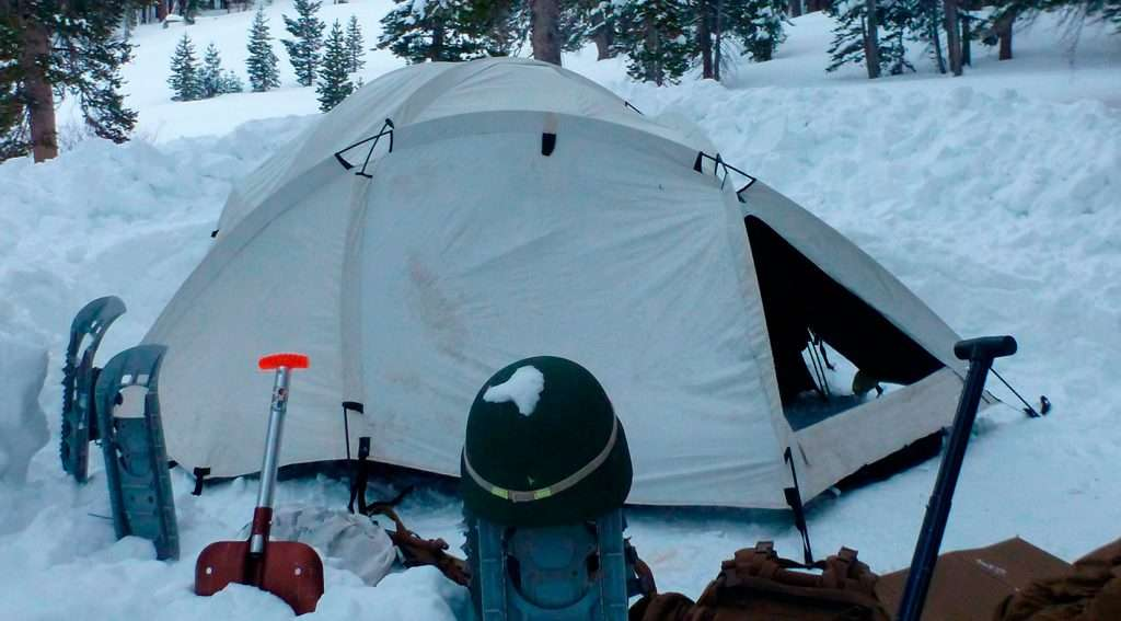 cold weather tent in the snow