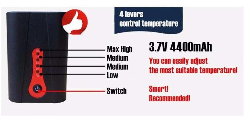 controll temperature in electric socks