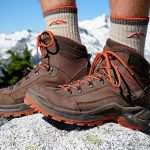 hiking boots on feet