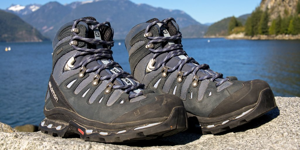 hiking boots lying on a rock