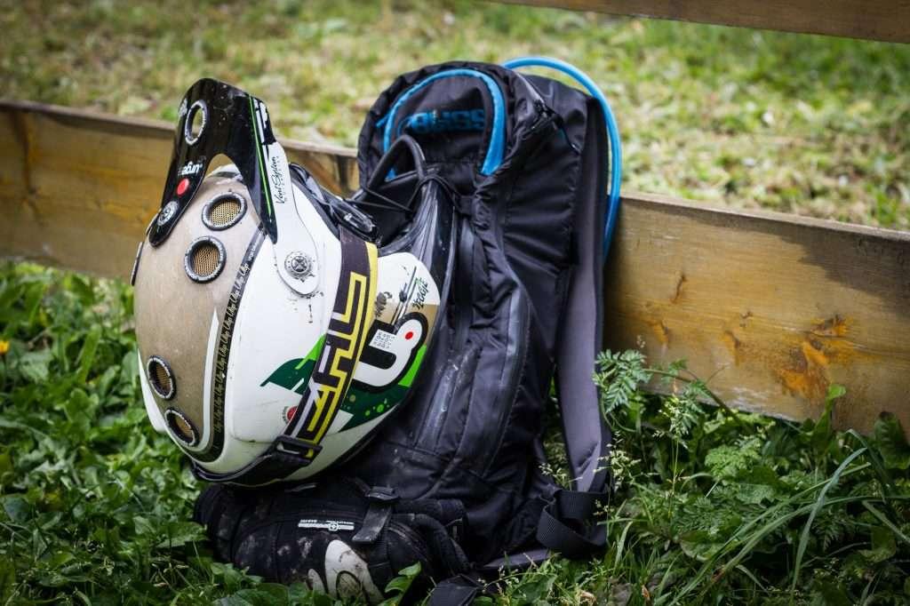 MTB backpack with helmet