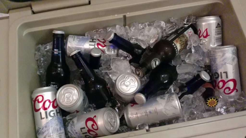 open cooler with ice