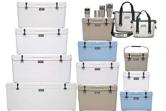 Yeti coolers of different sizes