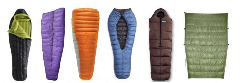 sleeping bags of different types