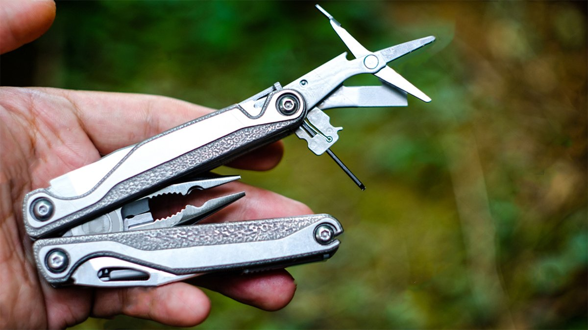 multi tool in a hand close up