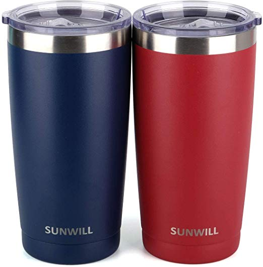 SUNWILL 20oz Tumbler with Lid (Navy Blue & Wine Red 2 pack)