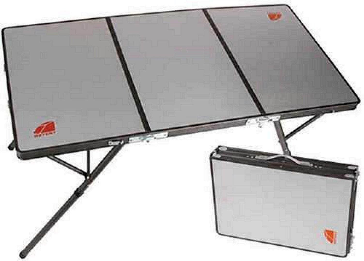 Tri-Folding camping table folded and in carying suitcase