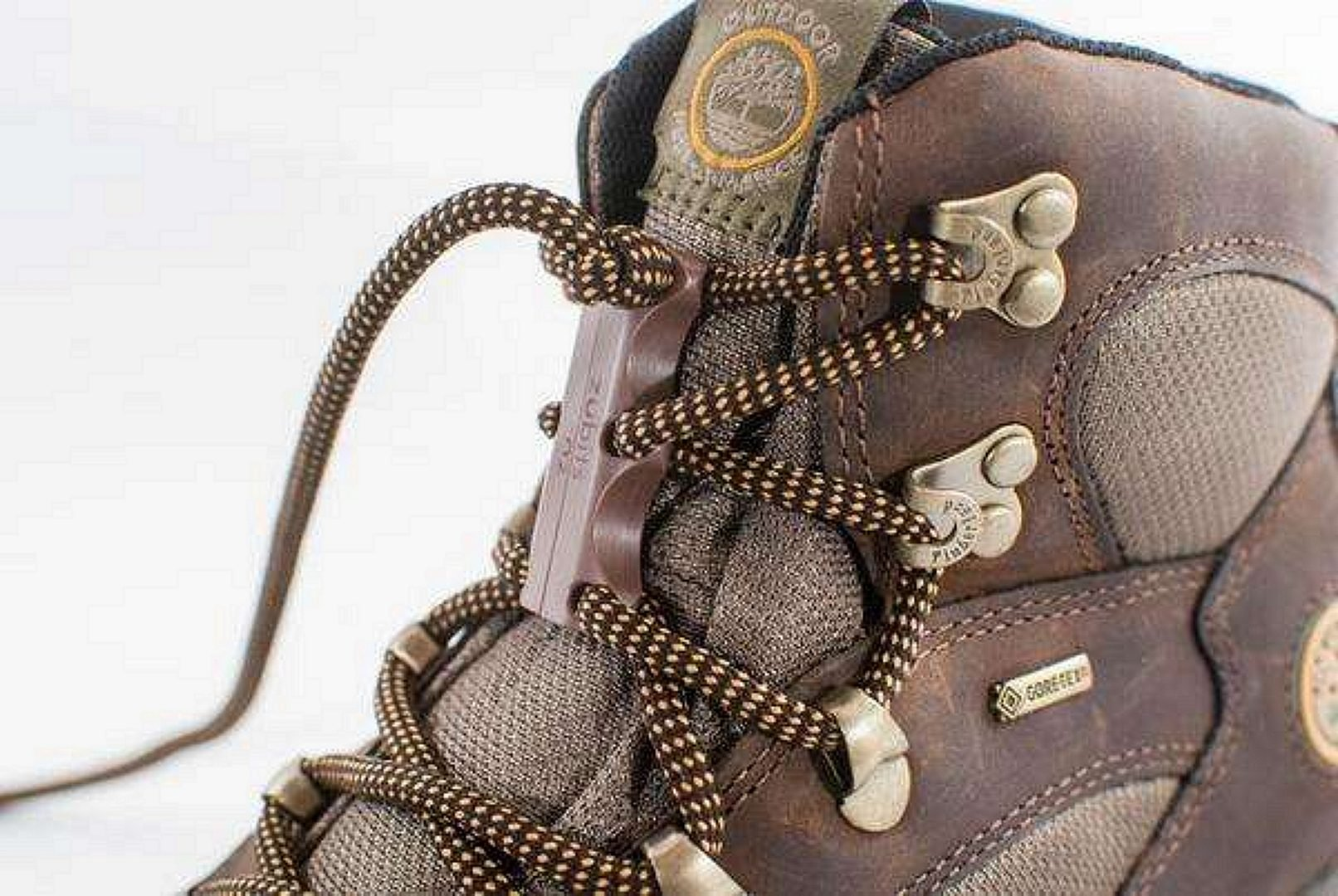 Laces on a hiking boot close up view