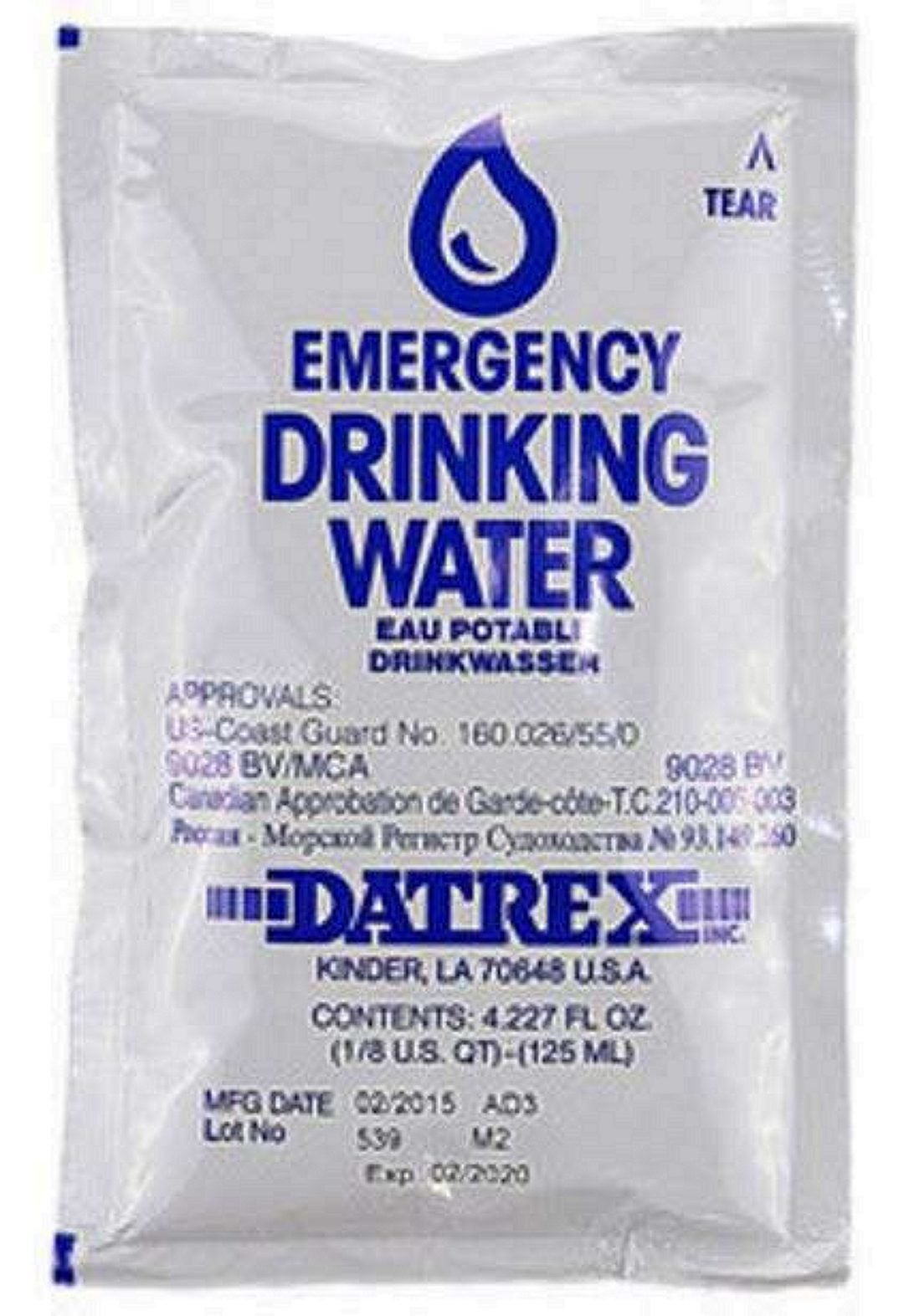 Datrex drinking water for survival kits