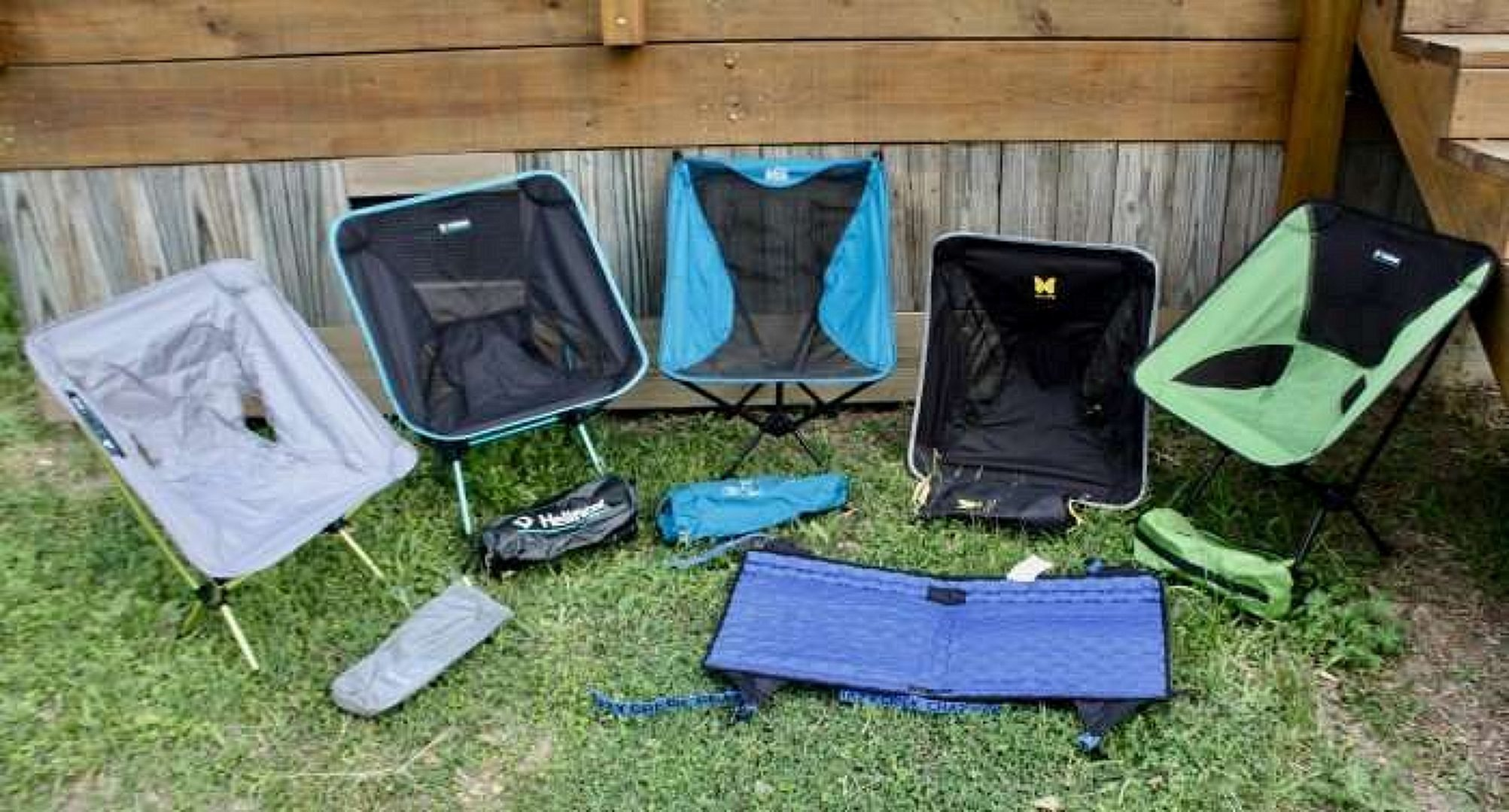 Many different backpacking chairs