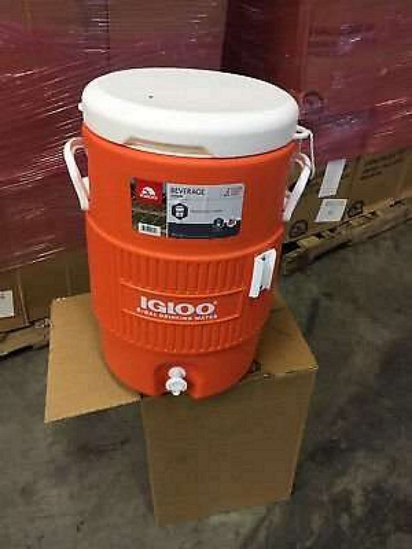 Igloo 5-Gallon Heavy-Duty Beverage Cooler Orange & Ultimate Drip Catcher Set