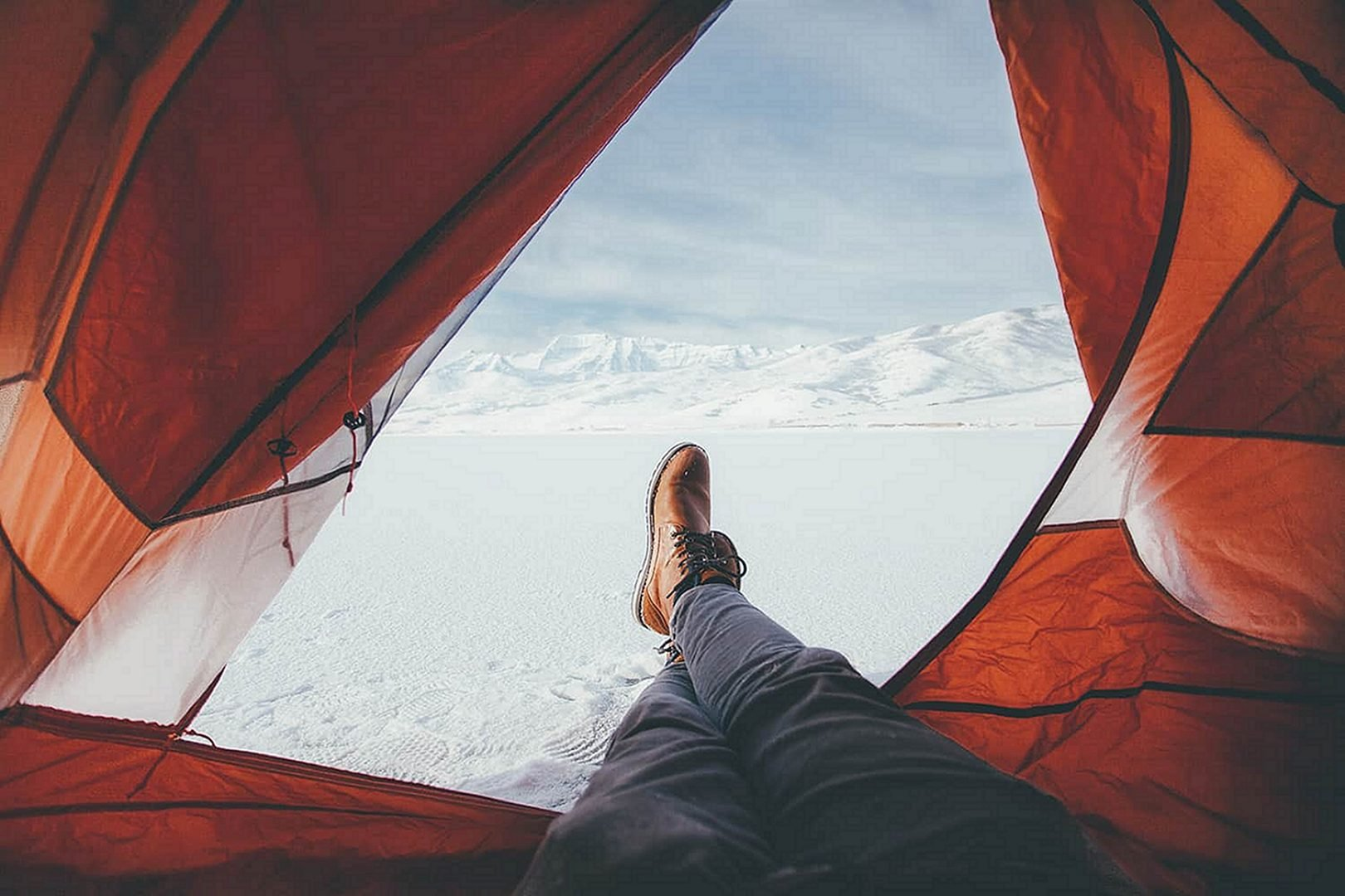 Winter mountains tent view