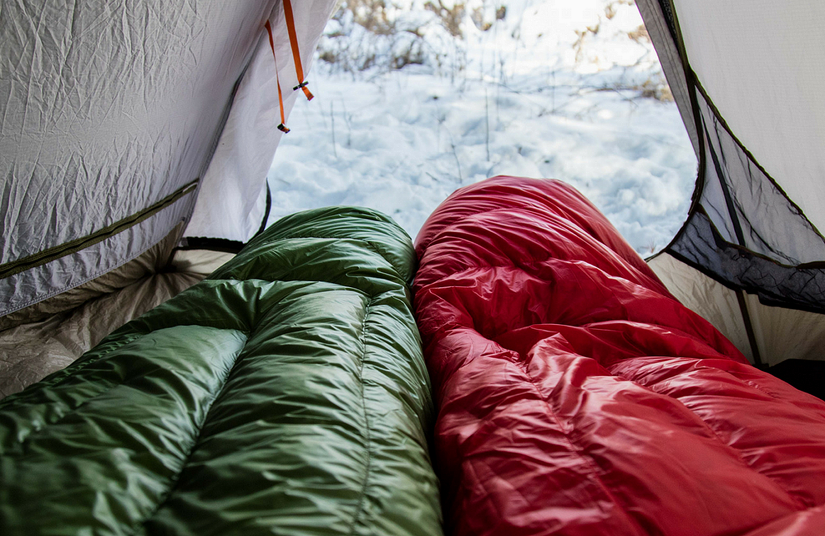 Two Nylon Sleeping Bag in a Tent