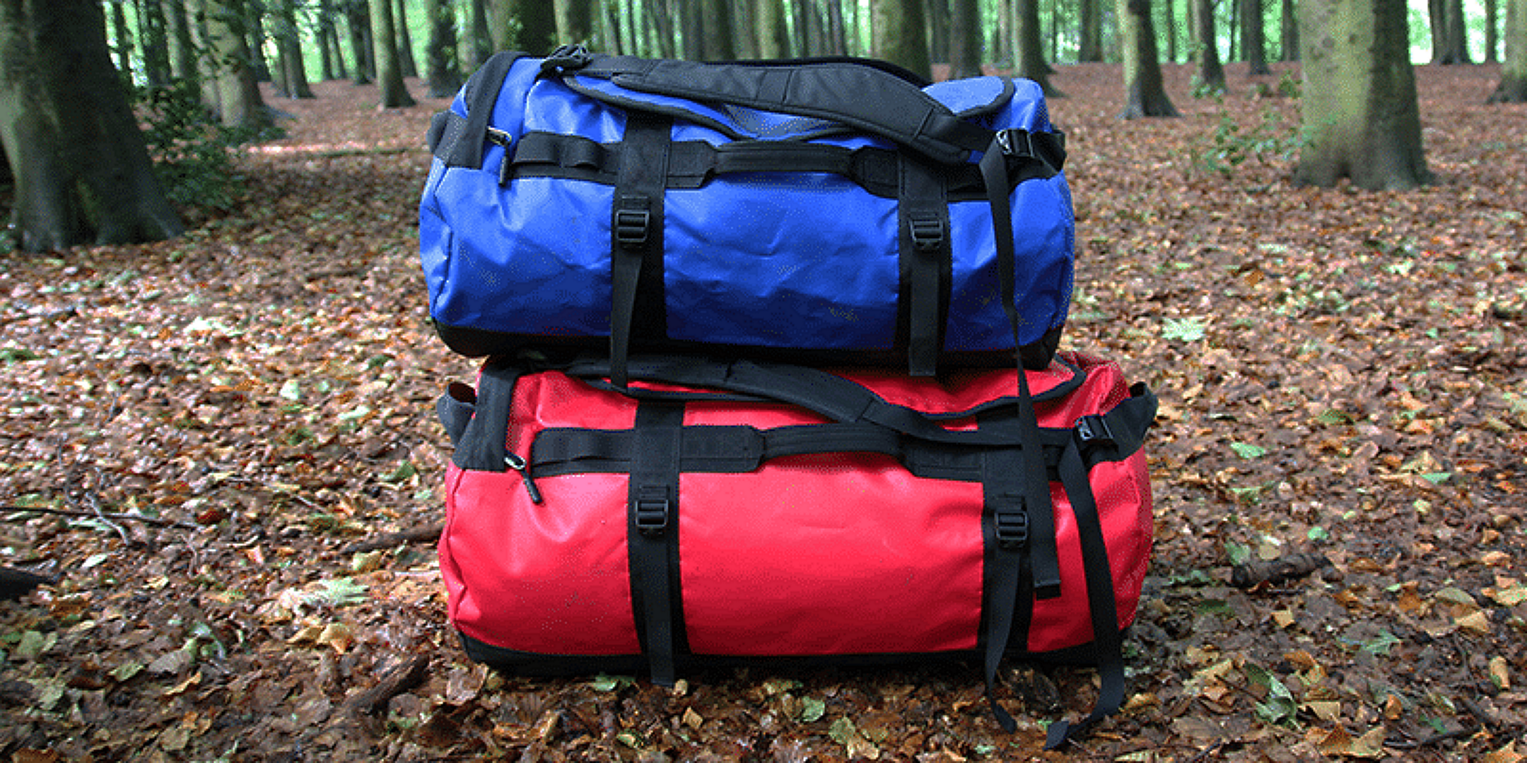 2 Duffel Bags in the woods