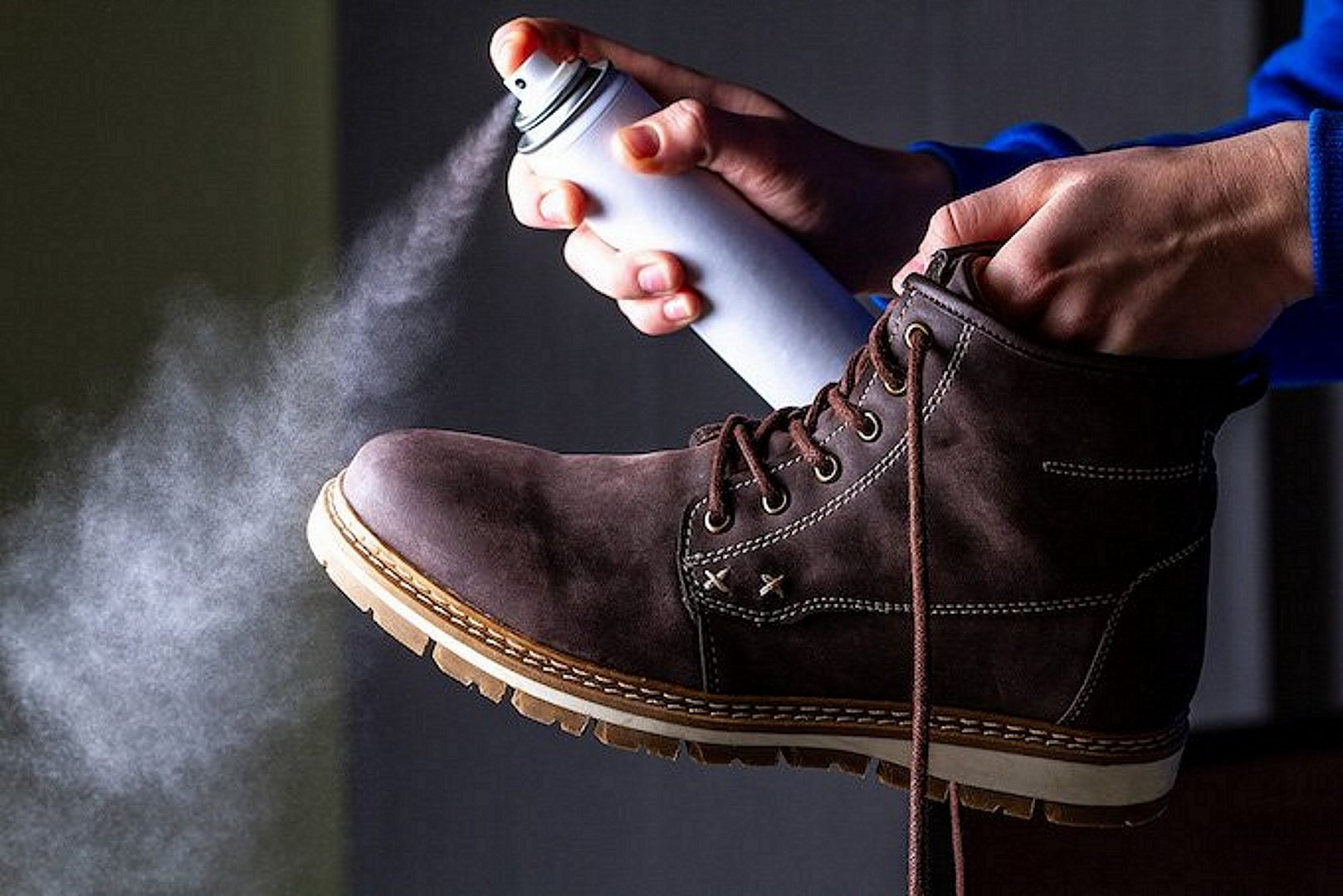 Waterproofing Spray Being used on Boots