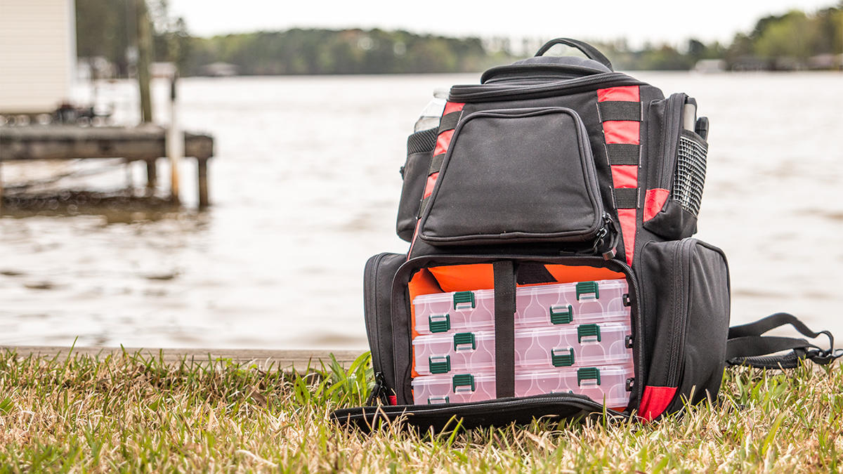Photo of a fishing tackle backpack. Best Fishing Tackle Bag Reviews of 2021