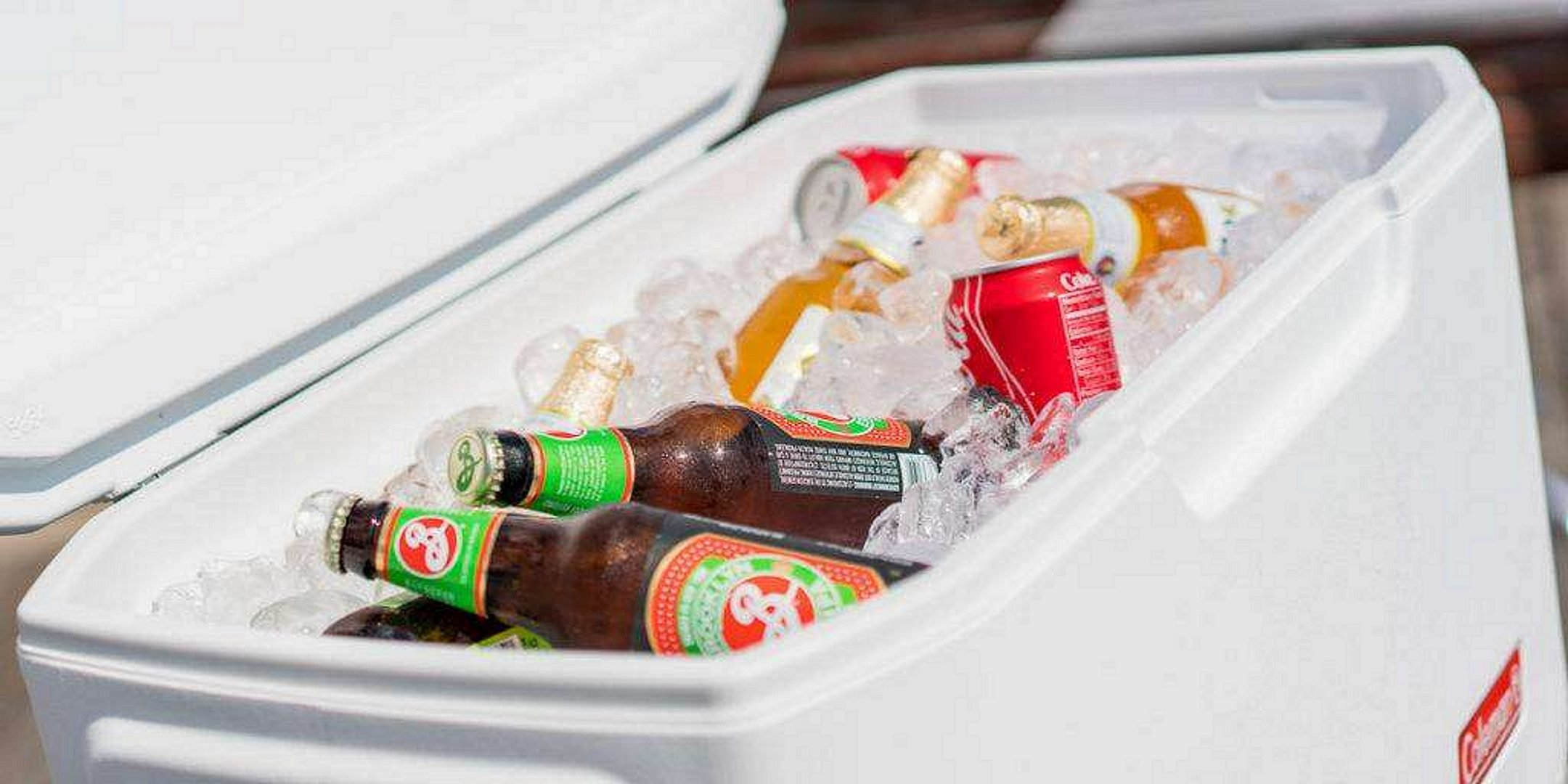 Coleman Cooler With Ice and Drinks