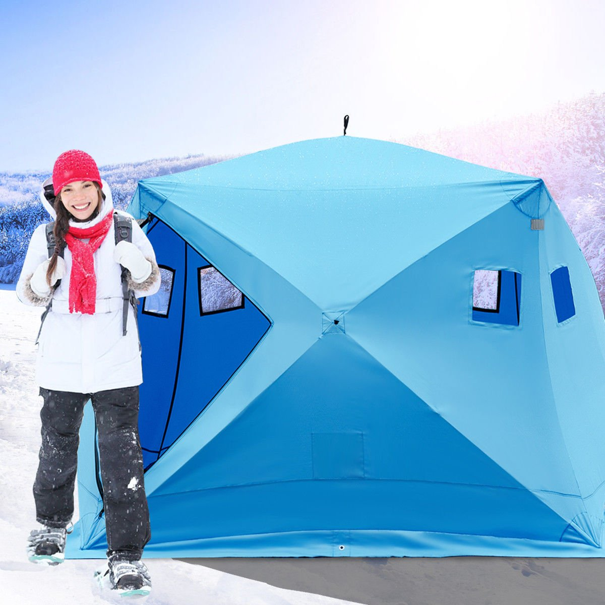 Photo of woman near ice fishing shelter. Best Flip Over Ice Fishing Shelter Reviews