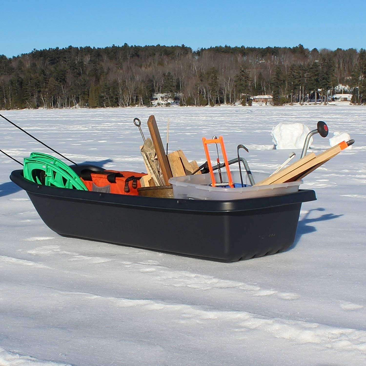 Photo of tackle on ice fishing sled. Best Ice Fishing Sled in 2021 – Reviews of TOP 5 Items and Buyer's Guide