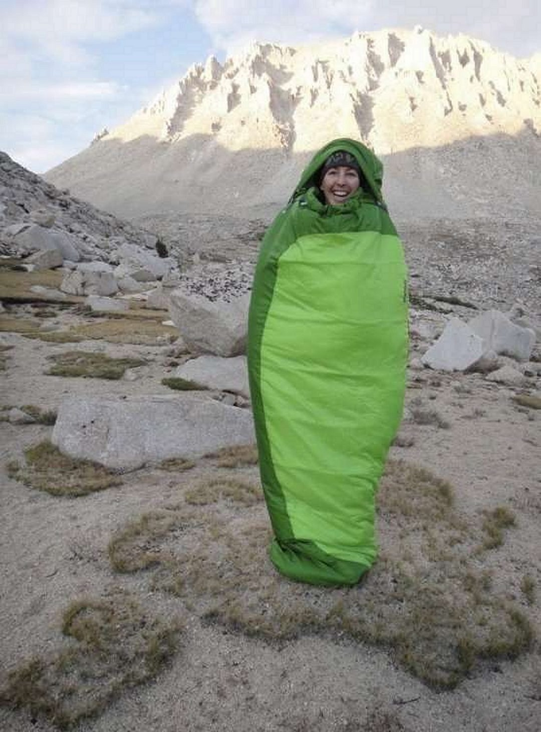 A woman in a Sleeping Bag