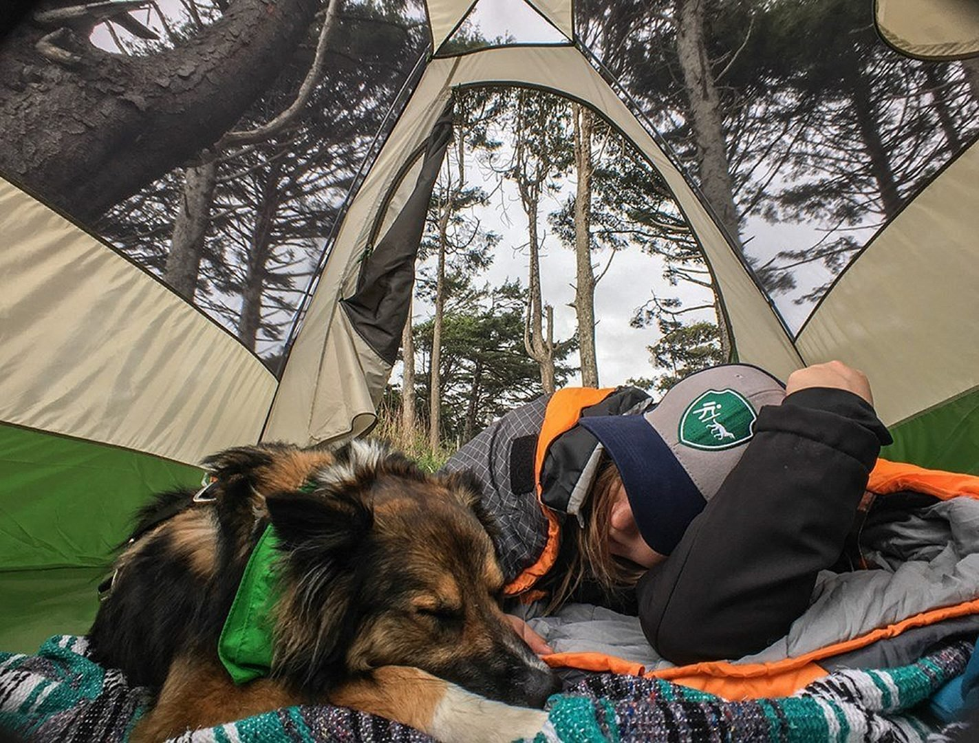 Woman and dog in a tent