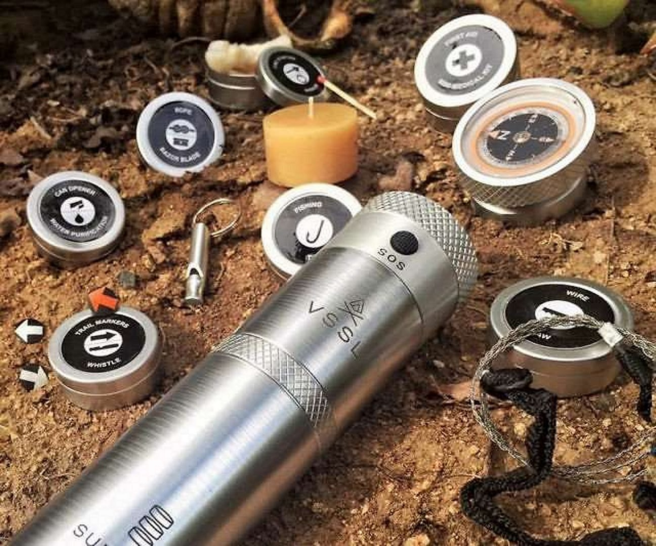 survival kit flashlight, matches and compass