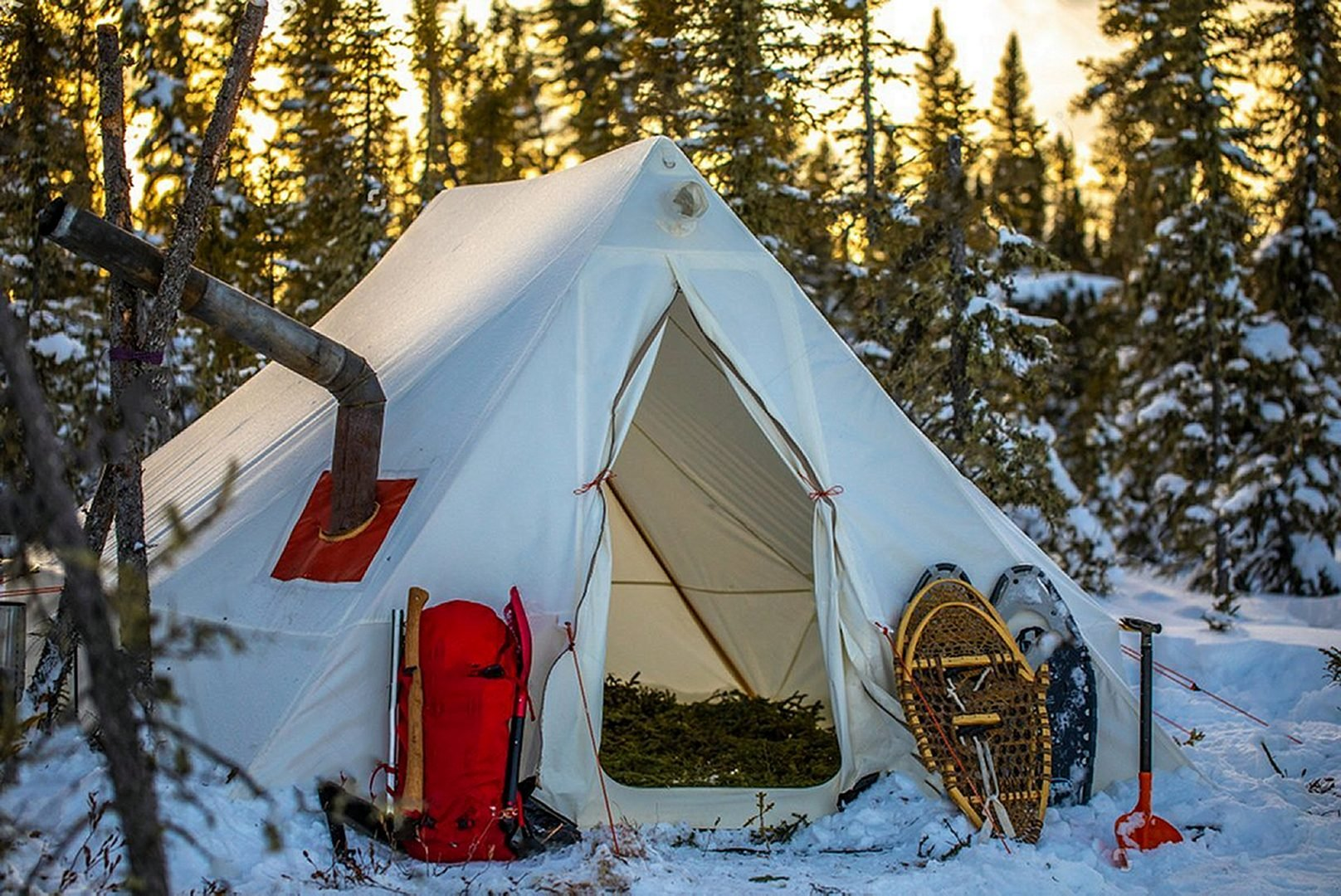 Canvas Tent in the snow woods